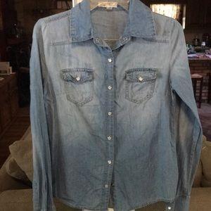 Denim Long Sleeve Button Down Shirt